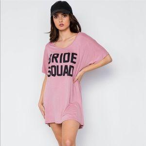 Bride Squad Graphic Short Sleeve T-shirt Dress